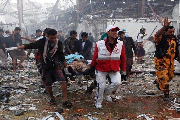 بمباران شهر الحالی در الحدیده یمن توسط جنگنده های سعودی
