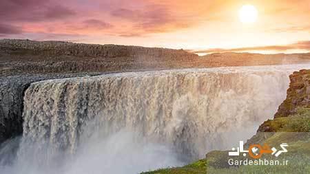 آبشار زیبای دتیفوس در ایسلند، عکس