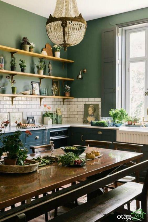 راهنمای طراحی آشپزخانه با رنگ سبز، طیف رنگی و چیدمانمزایای استفاده از آشپزخانه با رنگ سبز