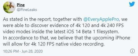 آیفون 12 از فیلمبرداری 4K با نرخ 240 فریم بر ثانیه پشتیبانی می نماید